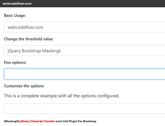jquery-character-counter-bootstrap-maxlength