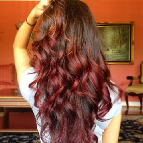 Auburn/red ombre hair…
