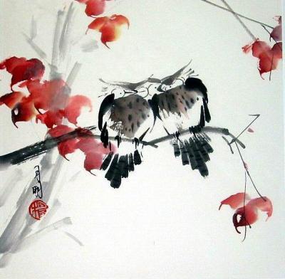 chinese brush painting pinpoint