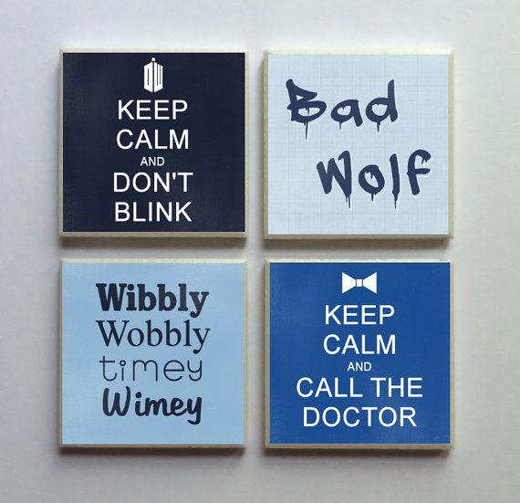 Doctor Who Fandom – Ceramic Tile 4-pc. Refrigerator Memo Magnet Set Magnets – Keep Calm Don't Blink Bad Wo