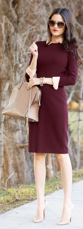 A classic work dress in a fall tone can make a big impact. Keep things simple with nude pumps and a neutra