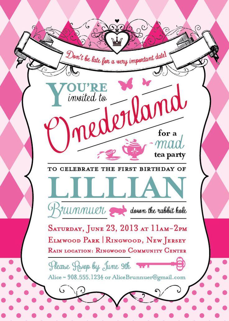 Alice in Wonderland Birthday Party Invitation by GoodiesDesigns, $15.00