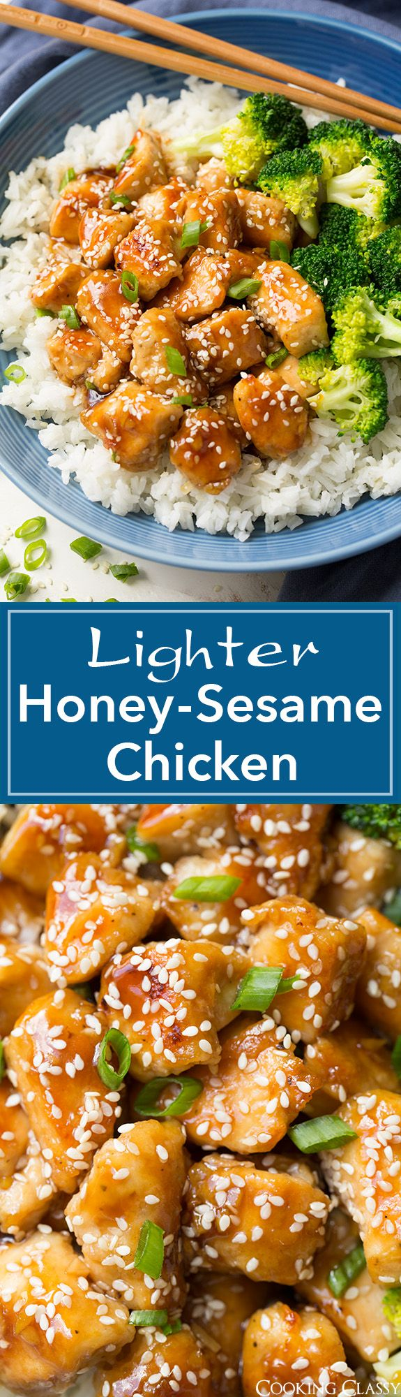 Lighter Honey-Sesame Chicken – you won't even miss the frying! Seriously delicious and full of flavor!