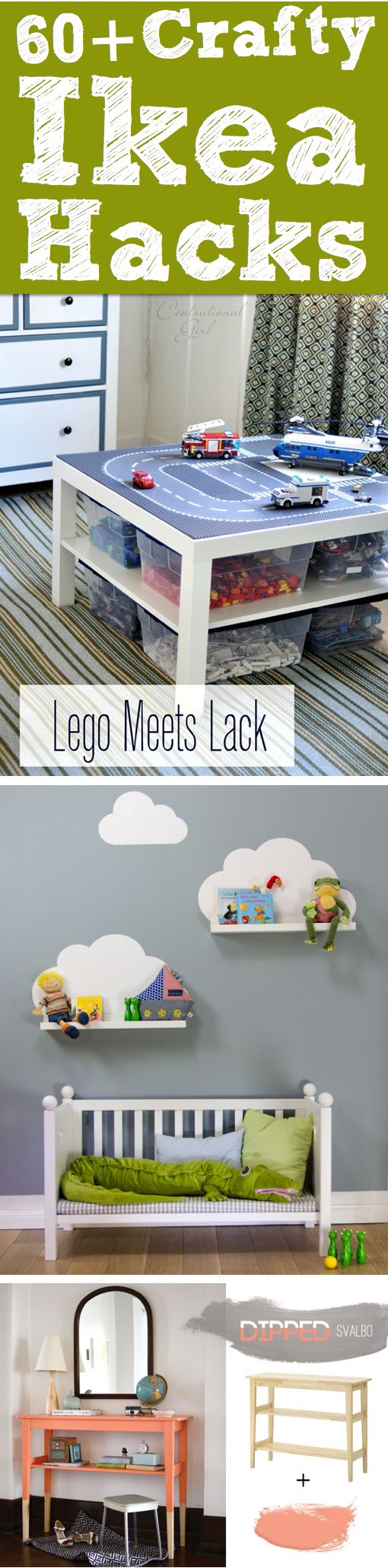60++Crafty+Ikea+Hacks+To+Help+You+Save+Time+And+Money! Lego table/storage and the padded storage cubes for