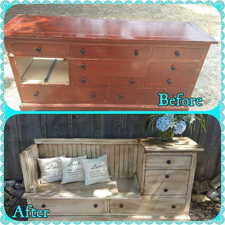 Saw this on a friends page on Facebook. Great way to repurpose an old dresser. Although I would add a foam
