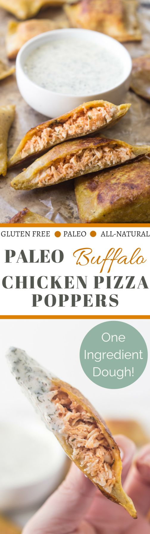 Paleo Buffalo Chicken Pizza Poppers – one ingredient dough!  Plus they're served with a ridiculously good
