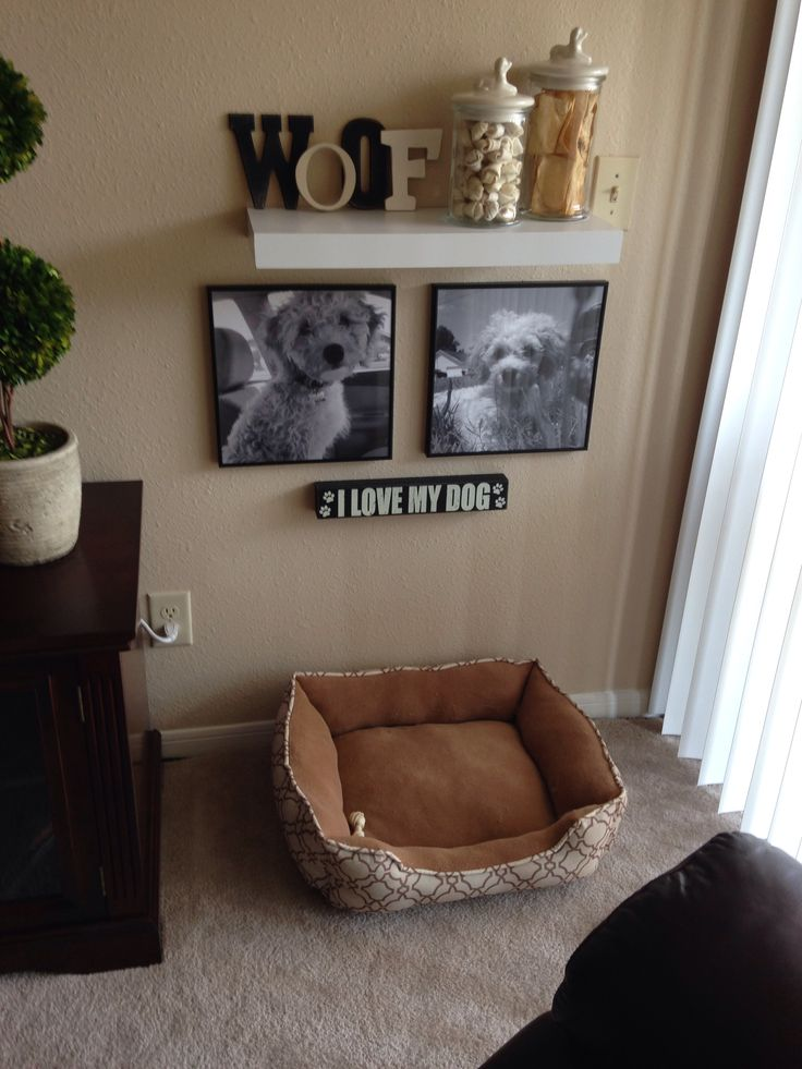 My own DIY pet corner! My puppy has his own space now in our home! Poster B&W prints from Staples and deco