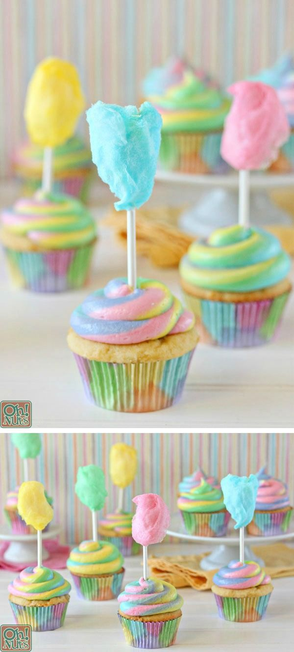 Cotton Candy Cupcakes!   From OhNuts.com/blog