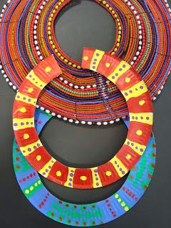 African Maasai necklace project for kids — all you need is a paper plate and some markers to make these c