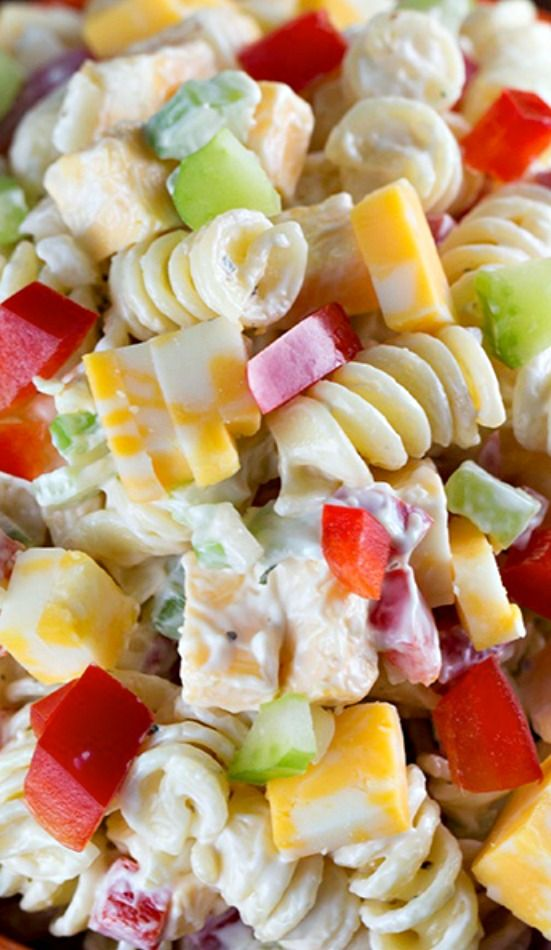 Creamy Cheddar Pasta Salad with a simple dressing ~ is a fantastic side dish for a summer BBQ! It's vers