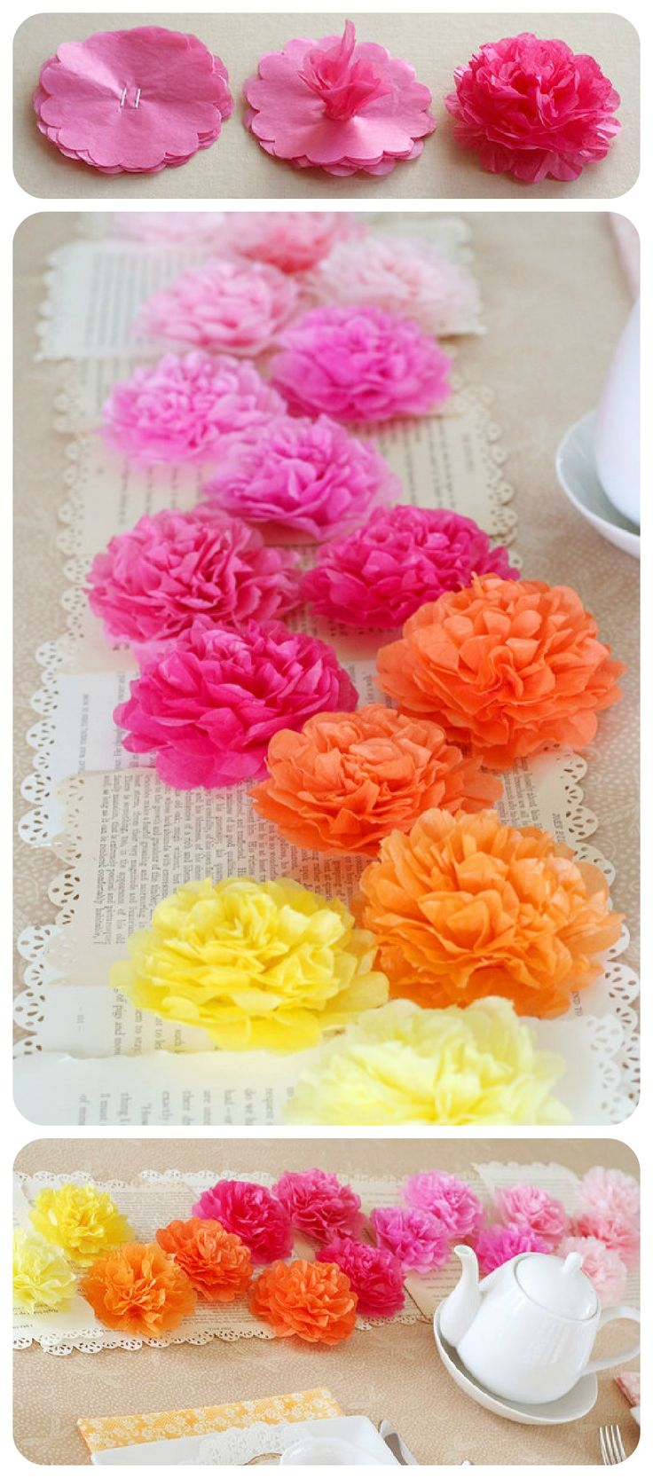 Tissue Paper Flower Runner: Use around 8 sheets of tissue paper for each flower and punched all 8 layers a