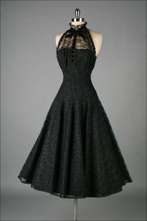 Vintage 1950's Paul Sachs Black Tuxedo Lace Cocktail Dress