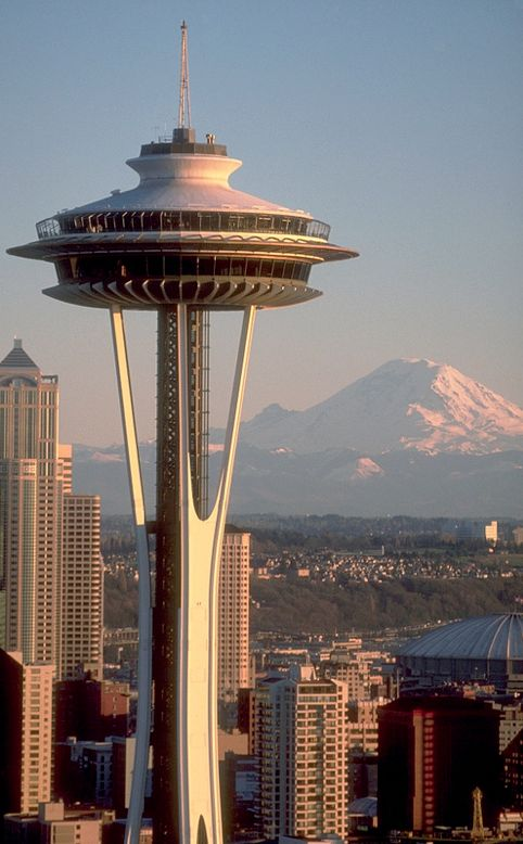 The Space Needle in Seattle, Washington with Mount Rainier in the background • photo: Eugeniu Cozac on F
