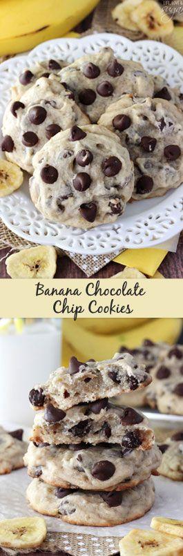Banana Chocolate Chip Cookies – dense, moist and chewy cookies full of banana and chocolate chips! Not at
