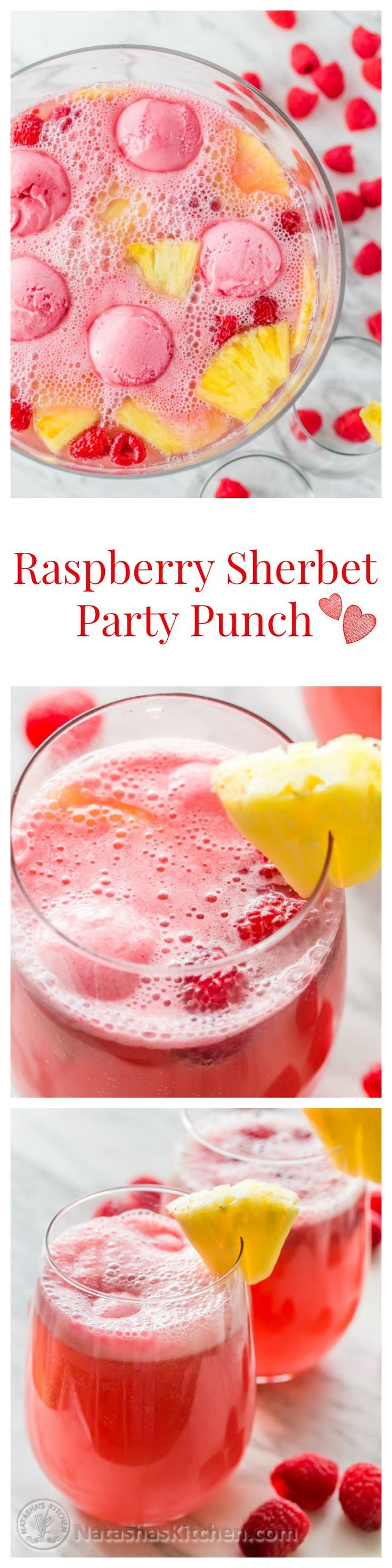 This Sherbet Party Punch is perfect for potlucks, baby showers & Valentines Day! @natashaskitchen