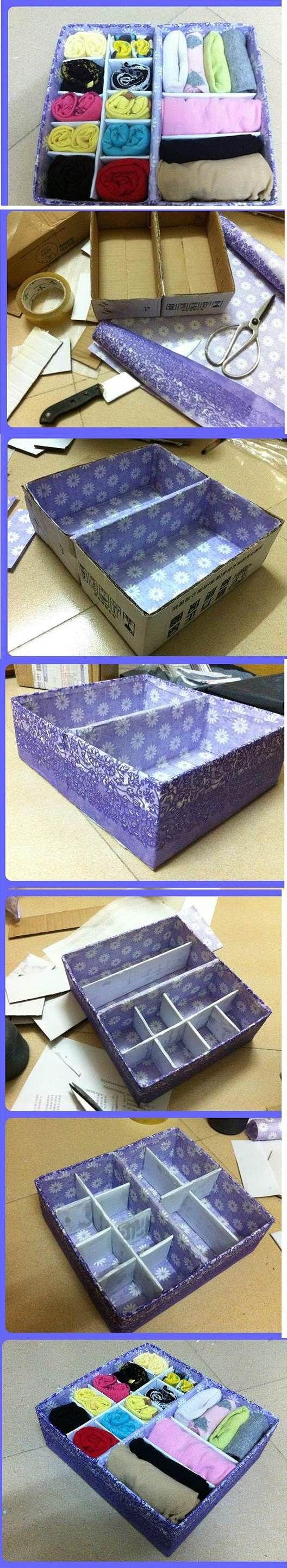 DIY Cardboard Underwear Storage Box | iCreativeIdeas