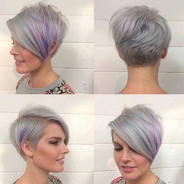 longger pixie cut with long bangs – gray hair color ideas