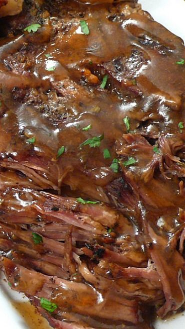 "Slow Cooker ""Melt in Your Mouth"" Pot Roast ~ The meat is juicy and fall-apart tender. The vegetables are c"