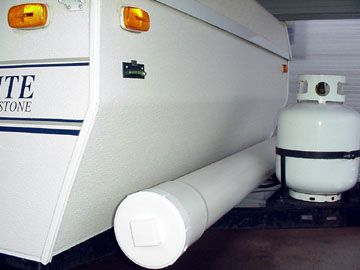 GREAT idea: Mount a 6″ PVC pipe on camper/RV exterior to hold outdoor carpet