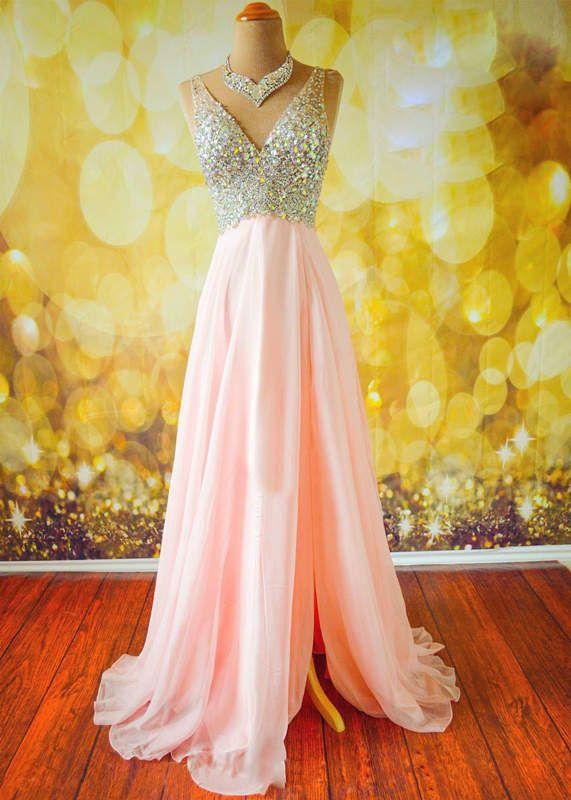 Unique v neck sequin long pink prom dress for teens, modest prom dress long
