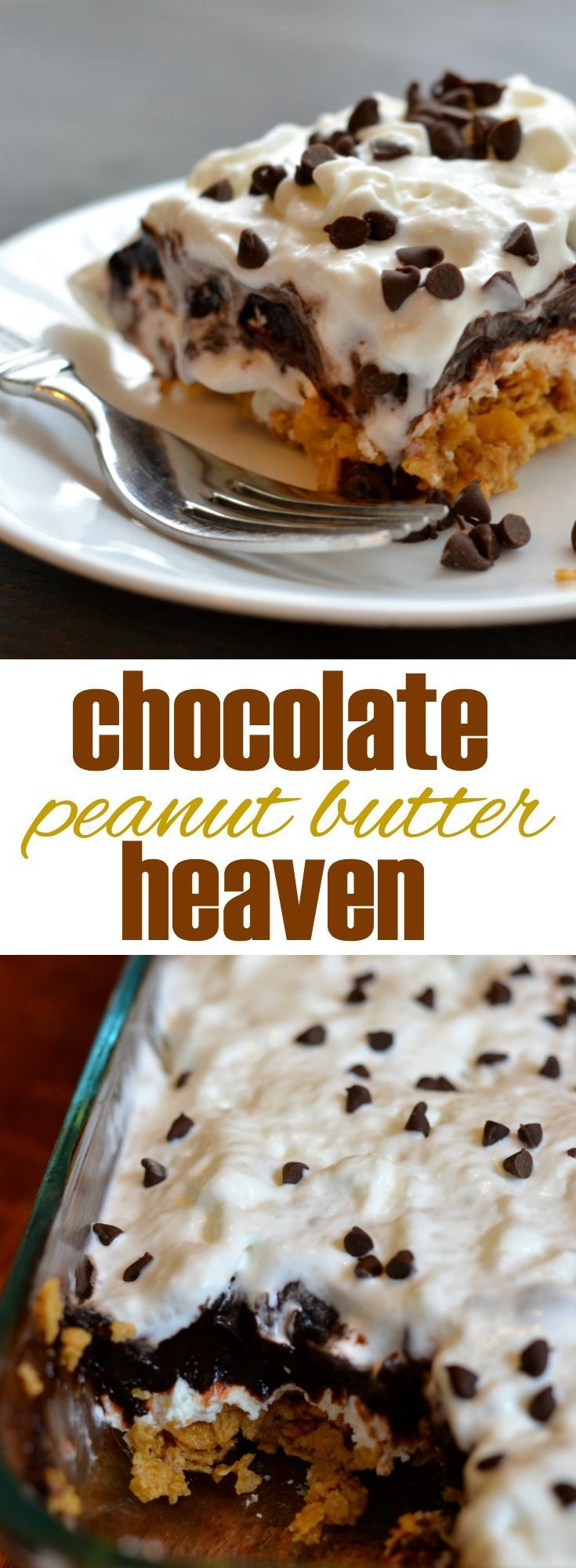 """This easy, no bake dessert truly tastes like heaven. Layers of peanut butter """"crunch,"""" sweetened cream cheese, and dark chocolate"""
