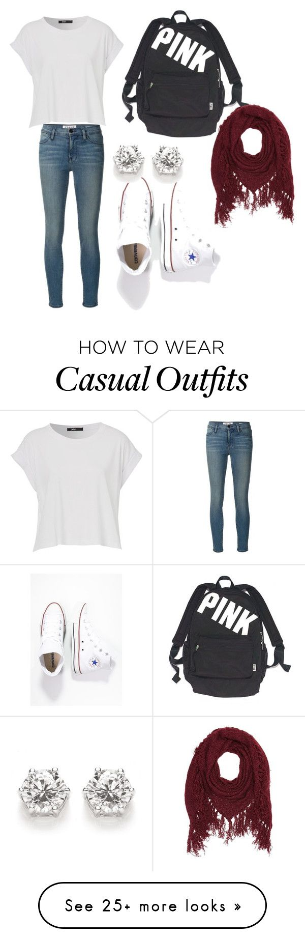 """""""School or casual outfit"""" by hankate15 on Polyvore featuring moda, Frame Denim, Converse, Victoria's Secre"""