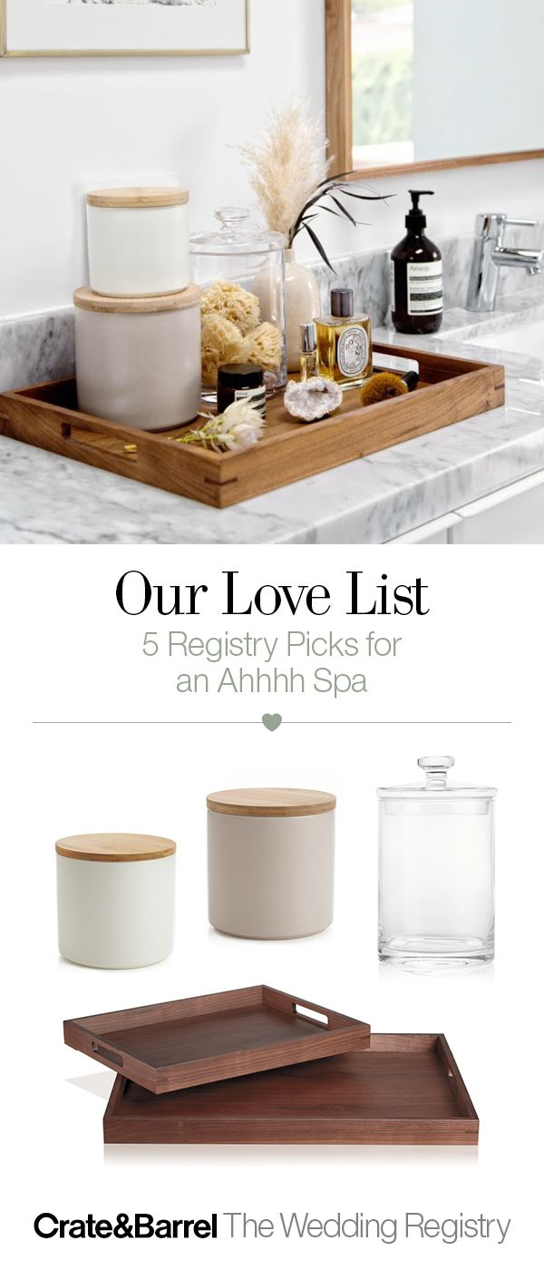 Keep your bathroom organized with jars and storage canisters that keep the clutter at bay. Plus, a tray to