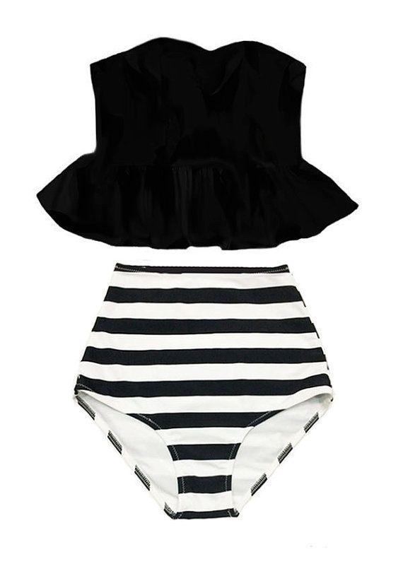 Black Strapless Long Peplum Tankini Top and Striped High Waisted Waist Shorts Bottom Swimsuit Bikini Swimw