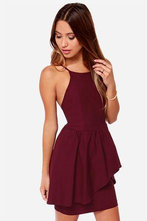 Pretty Burgundy Dress – Cocktail Dress – $39.00
