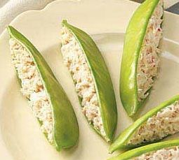 Snow Peas Stuffed with Crab 1/2 pound fresh snow peas  12 ounces crab meat, well drained  2 hard-cooke