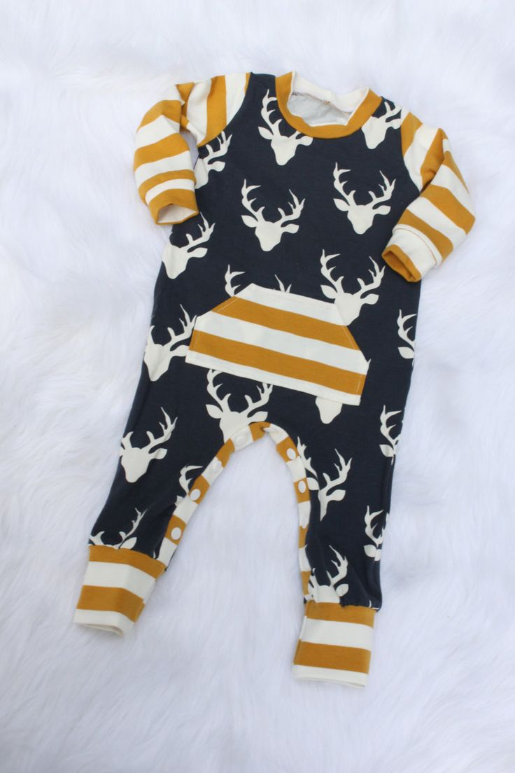 Baby Boy Romper / Deer Romper / One Piece / Bodysuit / Rompaloons / Cloth Diaper / Toddler / Coming Home O
