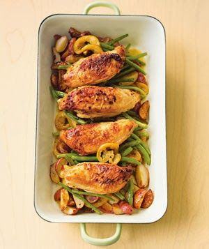Pan Roasted Garlic Chicken with Red Potatoes & Green Beans. Easy and healthy, LOVE the lemon taste. Easy t