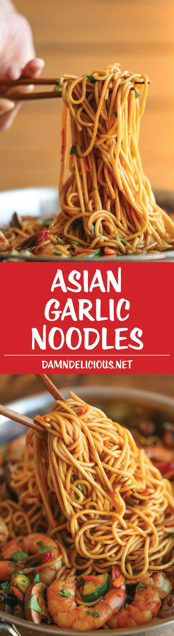 Asian Garlic Noodles – Easy peasy Asian noodle stir-fry using pantry ingredients that you already have on