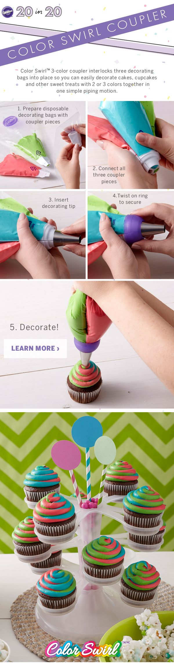 The Color Swirl Coupler interlocks 3 decorating bags so you can easily decorate treats with 2-3 colors in