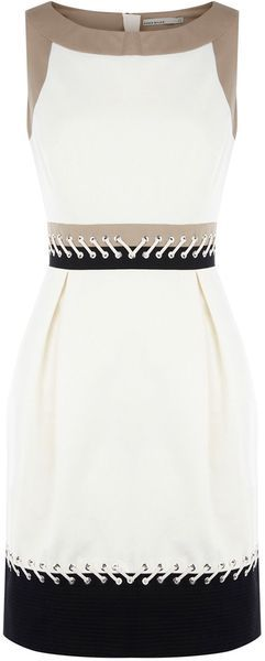 Colourblock Dress with Lacing. I would definitely wear something like this to work