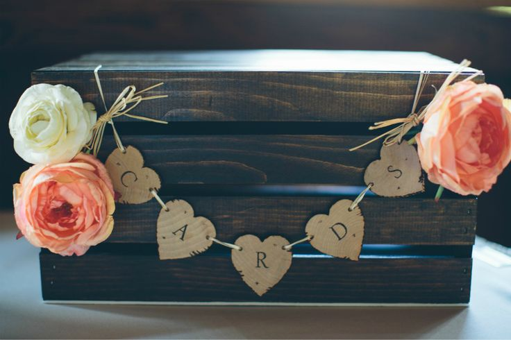 Our Wedding Card Box – DIY – Wood Burned – Espresso Stained Crate – Rustic Wedding – Barn Wedding – Card B