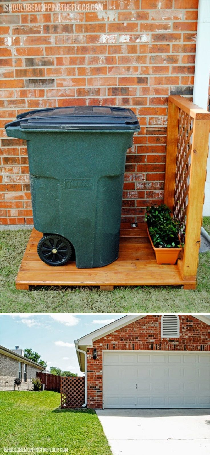 Create a simple garbage can storage area – 10 Sneaky DIY Ways to Hide an Ugly Trash Can | GleamItUp