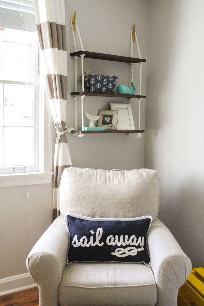 Nautical Nursery Decor – love the rope shelf and fun nautical decor items!