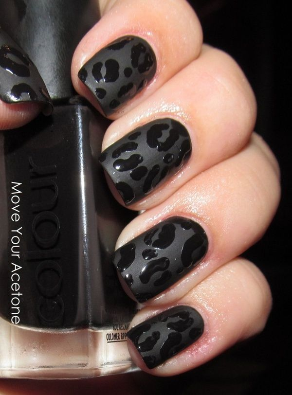 Great use of matte & shiny nail polish to create a leopard print pattern in black – could use any colour y