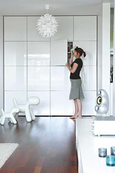 Ikea Besta units – I love the idea of a complete wall of units.Could be used in any room including a kitch