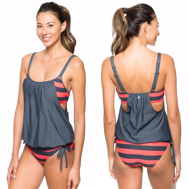 @NEXT Swimwear Lined Up Double Up Tankini // Perfect swimsuit for post-baby bods!