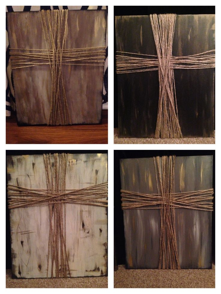 Made these crosses for Christmas presents this year. DIY cross on canvas: Paint background any color a
