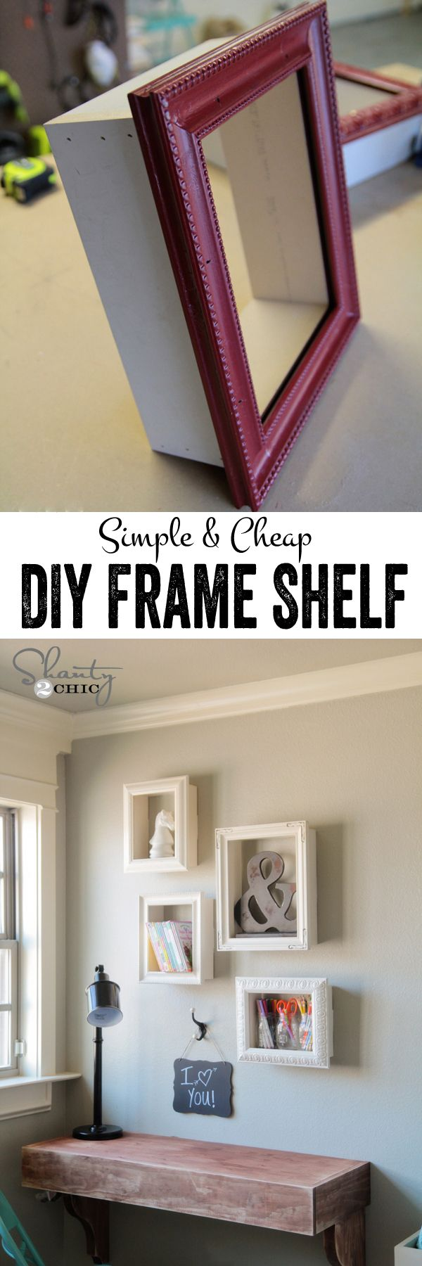 DIY display shelves using cheap frames… SO cute and easy! www.shanty-2-chic…