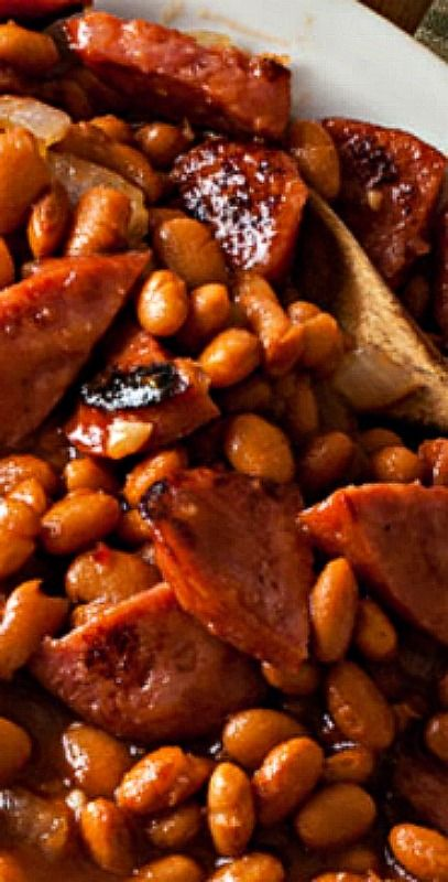Kielbasa and Honey Barbecue Baked Beans – cooked low and slow yields a dish packed with flavor that&#3