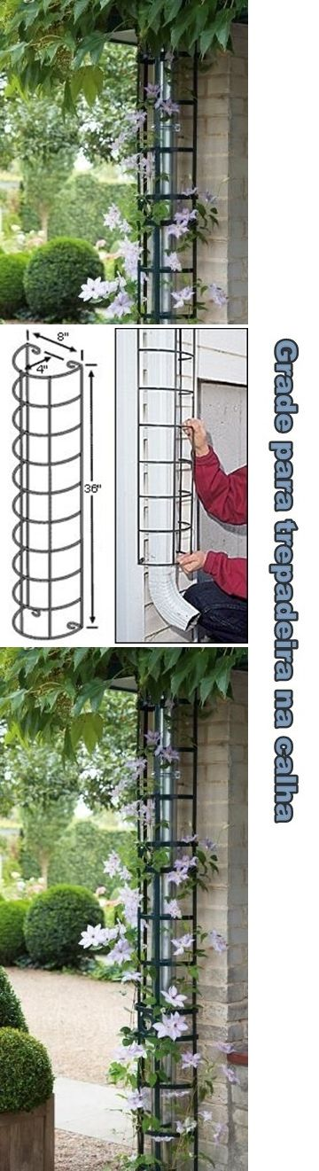 Hide the downspout with a trellis. Hide your rain spout by transforming into a decorative climbing sup