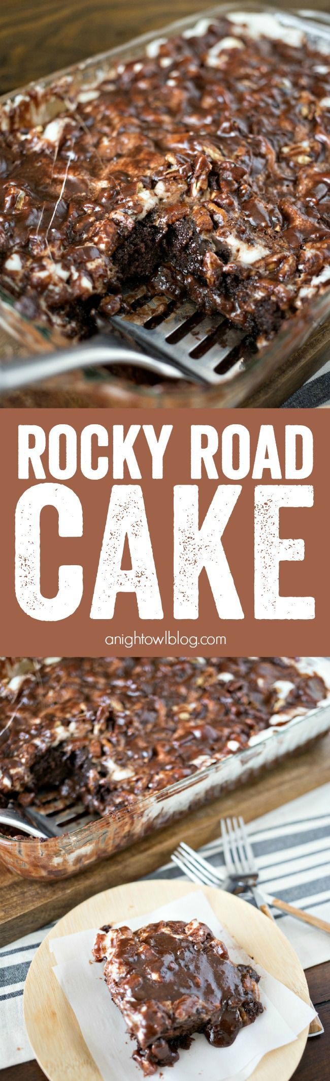 Rocky Road Cake – a delicious combination of chocolate, marshmallows and nuts in one delicious and eas