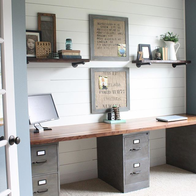 Office makeover with duo work areas and a plank wall.
