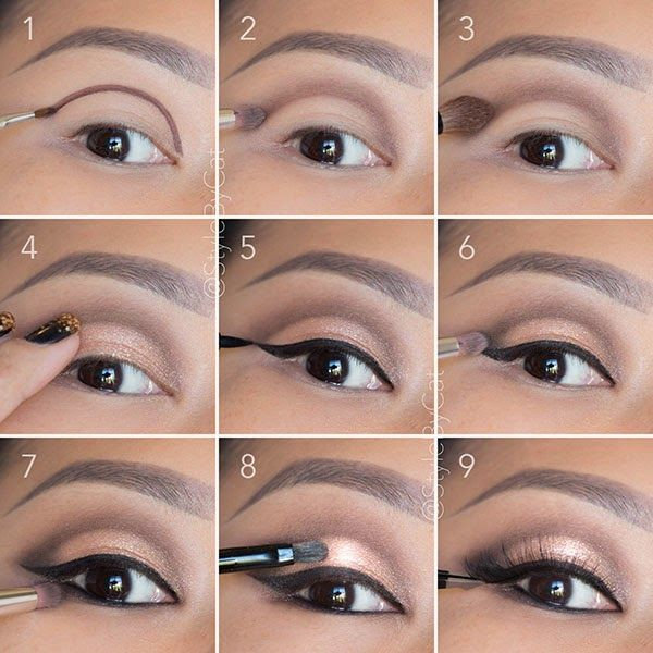 Soft, rose gold, smokey eye tutorial. Good for hooded eyelids or monolids on Asian eyes. Products and
