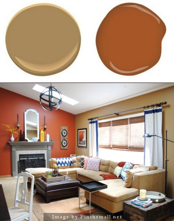 Benjamin Moore Mystic Gold.  Glidden Crisp Autumn Leaves.     Off of the kitchen and dining room is th