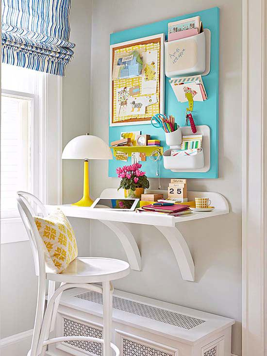 Transform the smallest of corners into a storage-packed office by utilizing wall space. Here, a wall-m